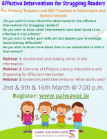 NEPS - Effective Interventions for Struggling Readers:  Series of 3 Sessions - 2, 9, 16 March